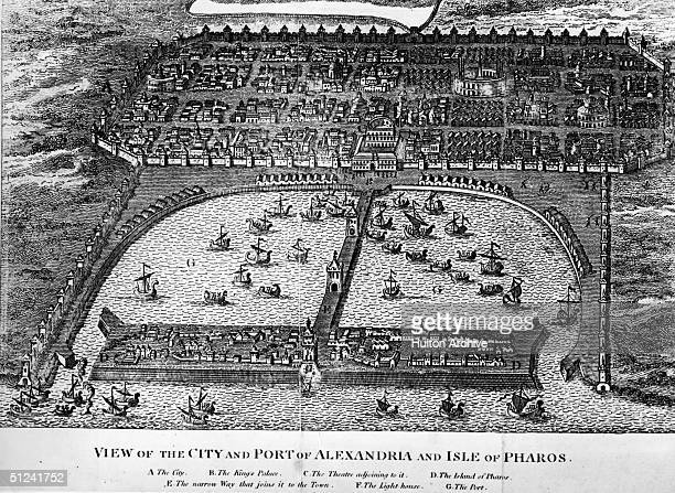 Circa 1750 View of the city and port of Alexandria and the Isle of Pharos