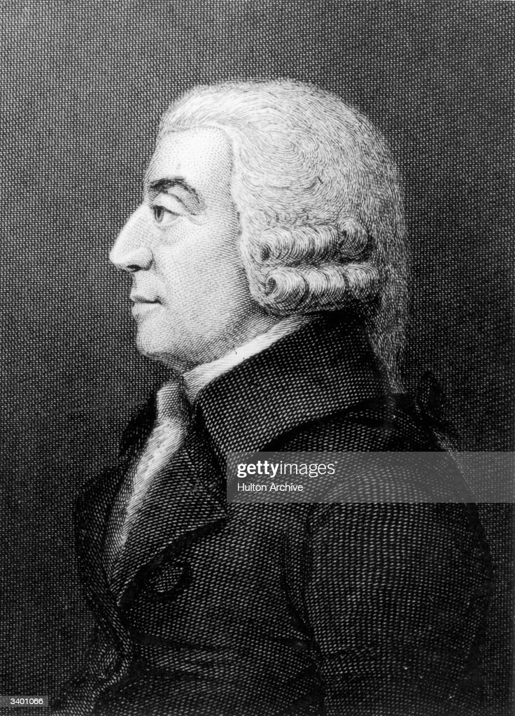 Scottish political economist and philosopher Adam Smith (1723 - 1790). His 1776 treatise 'An Inquiry into the Nature and Causes of the Wealth of Nations' marked the beginning of modern economics. Smith was born in Kircaldy and studied at Edinburgh University and Oxford before lecturing in Edinburgh where he met his lifelong friend David Hume who greatly influenced his work. He held posts as Professor of Logic and Professor of Moral Philosophy at Glasgow University before resigning to become a personal tutor.