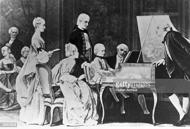 Classical composer Wolfgang Amadeus Mozart playing piano at the court of Francis I Original Publication From a painting by Richio