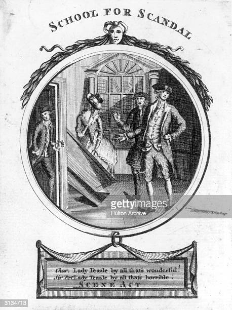 The famous screen scene from 'The School for Scandal' by Richard Brinsley Sheridan in which Lady Teazle's presence is revealed when the screen she's...