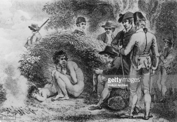 Natives of New South Wales meet armed and uniformed colonizers in the Australian bush