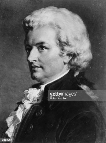 Austrian composer Johann Chrysostom Wolfgang Amadeus Mozart . Original Artwork: Painting by Jaeger-Gampenrieder.