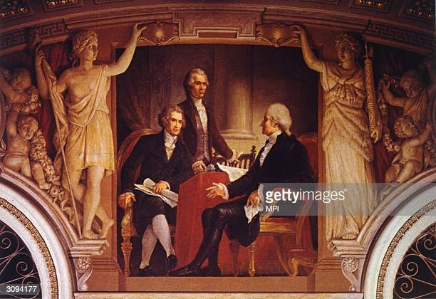 US president George Washington in consultation with his Secretary of State Thomas Jefferson and Secretary of the Treasury Alexander Hamilton A...