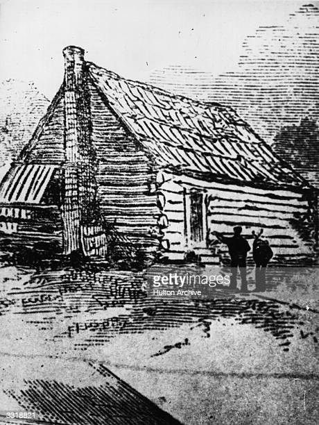A drawing of the birthplace of Andrew Jackson the 7th President of the United States at Waxhaw Settlement in North Carolina