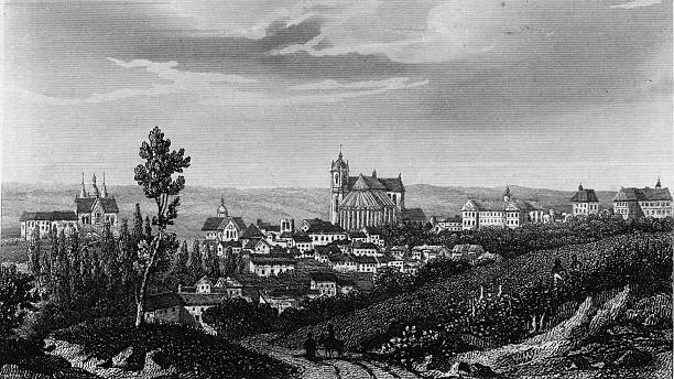 A view of Le Mans and its cathedral. Original Artwork:...