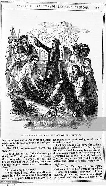 An illustration from the penny dreadful 'Varney the Vampire or the Feast of Blood'.