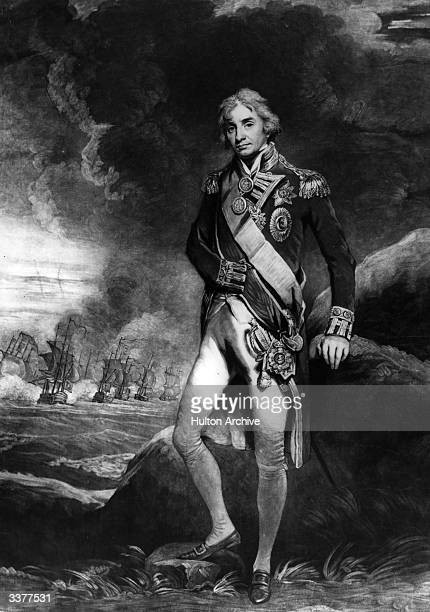 British naval commander Horatio Nelson in his Vice Admiral's uniform. After a painting by J Hoppner.