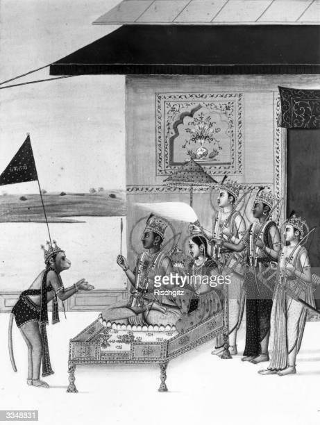 Hindu gods Rama and Sita enthroned attended by Ramal's three brothers while the faithful monkey god Hanuman receives his orders