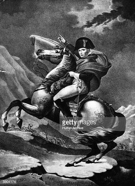Napoleon Bonaparte Napoleon I Emperor of France and King of Italy on horseback Original Artwork Painting by David when First Consul 17941804