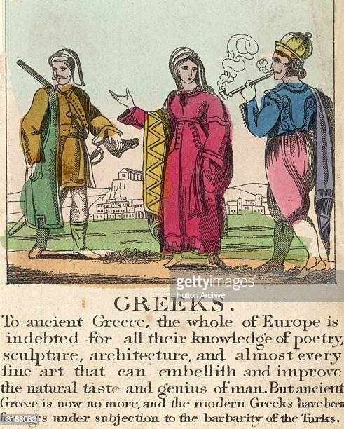 Two Greek men and a woman with the caption 'To ancient Greece the whole of Europe is indebted for all their knowledge of poetry sculpture...