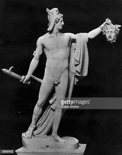 Perseus the son of Zeus and Danae from Greek mythology holding the severed head of the Gorgon Medusa Sculpture by Antonio Canova