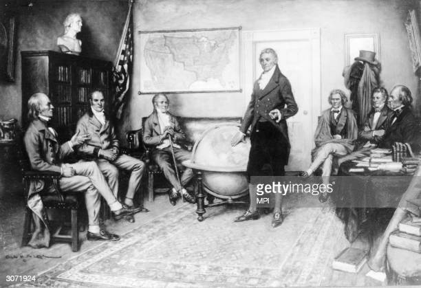 President James Monroe with his Secretary of State John Quincy Adams , Secretary of the Treasury William H Crawford, Attorney General William Wirt,...
