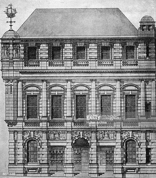 The facade of shipping agency Lloyd's of London an association of London underwriters set up in the late 17th century Originally concerned with...