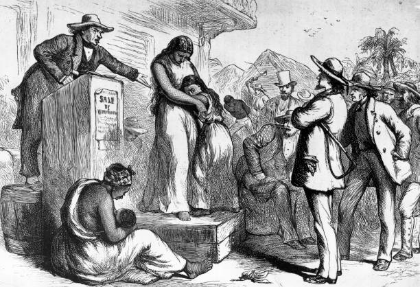 A slave auction in America.