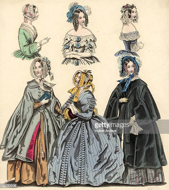 Morning dress for indoor and outdoor wear and some off the shoulder wear for more formal occasions at the beginning of the 19th century