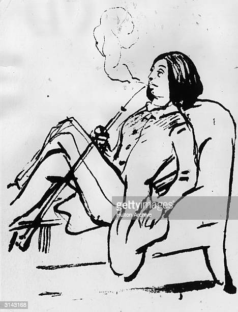 French romantic novelist Amandine Aurore Lucile Dudevant smoking a pipe and wearing typically masculine dress