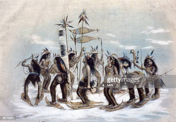 Ojibway braves perform a Snow Shoe Dance to thank the Great Spirit for the first fall of snow Original Artist By George Catlin