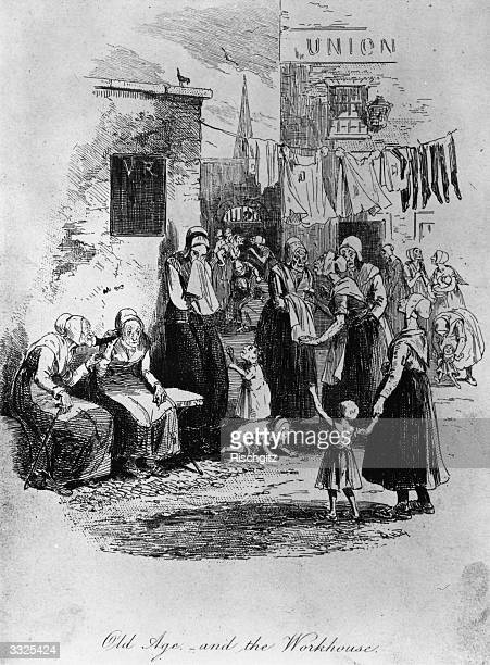 Elderly women chatting in the yard of a workhouse Original Artwork Engraved by Phiz
