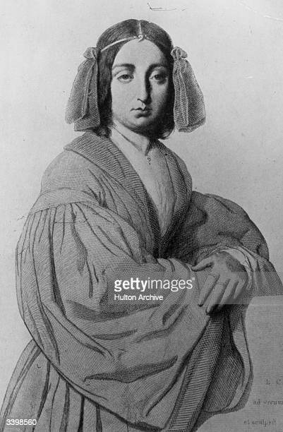 French novelist Amandine Aurore Lucile Dudevant better known under her pseudonym George Sand Original Artwork Drawing by L Calamutta