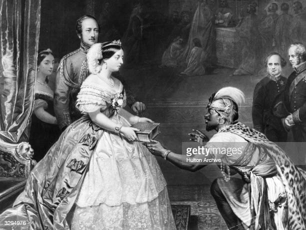 Victoria Queen of Great Britain from 1837 and Empress of India from 1876 receiving a gift from an African emissary
