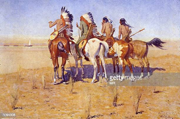 Four Native American horsemen witness the arrival of a boatload of settlers in the American west Original Artist By Frederic Remington
