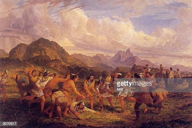 Native Americans playing a ball game similar to lacrosse Original Artist By Seth Eastman