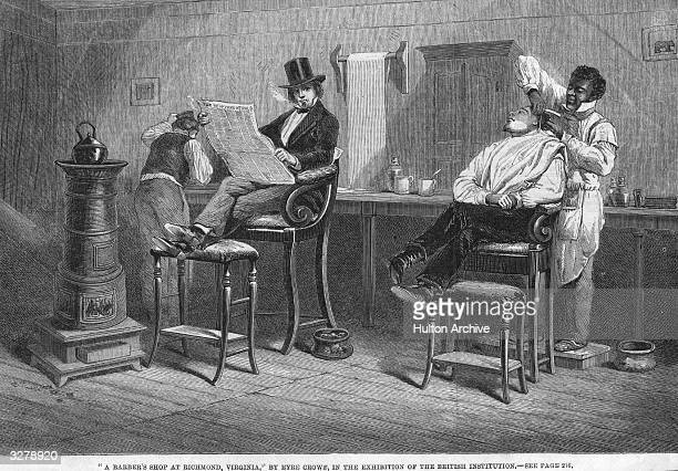 A barber shaves a customer whilst another watches in an engraving entitled 'A Barber Shop of Richmond Virginia by Eyre Crowe in the collection of the...