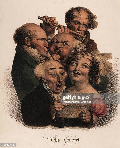 LONDON circa 1850 A comical lithograph from London in the 1850s depict a group of comical musicians at work in a cacophony of effort