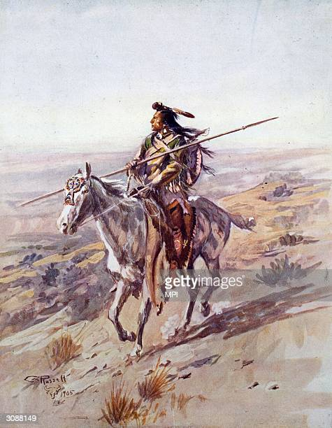 A Crow chief rides along the range holding his spear Original Artwork Painting by Charles Marion Russell