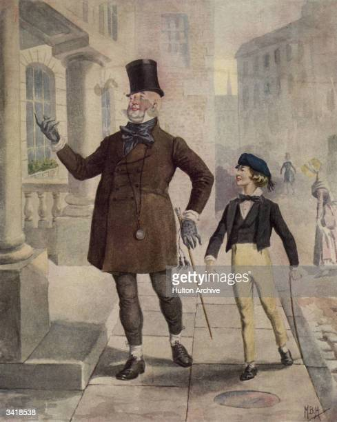 The characters 'Mr Micawber' and 'Young Copperfield' in an illustration from the Charles Dickens novel 'David Copperfield'