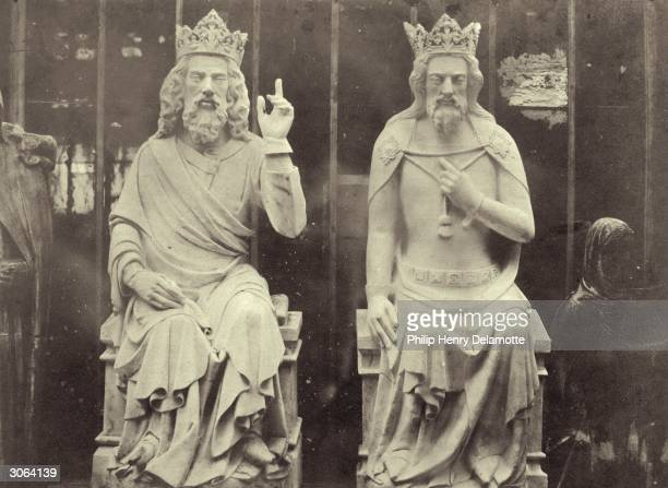 Casts of two English kings in the Crystal Palace, currently under reconstruction at Sydenham Hill, South London. The originals are situated on the...