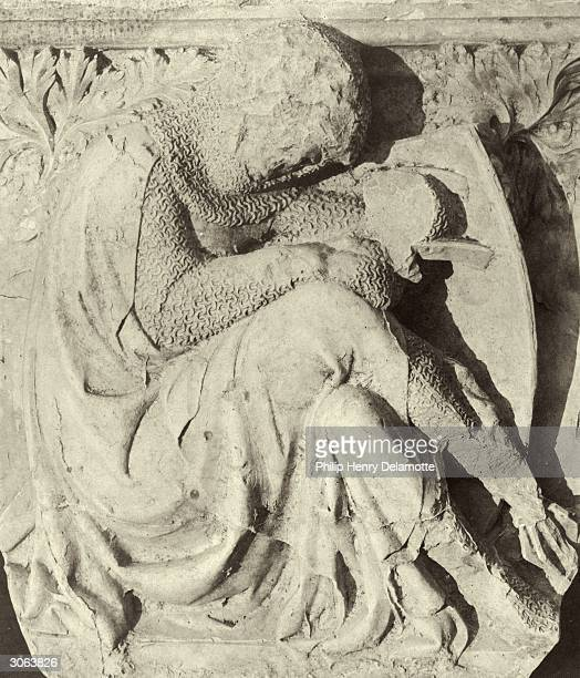 Cast of the 'companion knight' in the Crystal Palace, currently under reconstruction at Sydenham Hill, South London. The original is a fragment from...