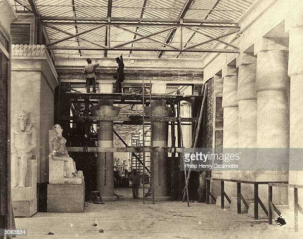 The back of the Egyptian Court of the Crystal Palace, during its reconstruction in Sydenham, south London.