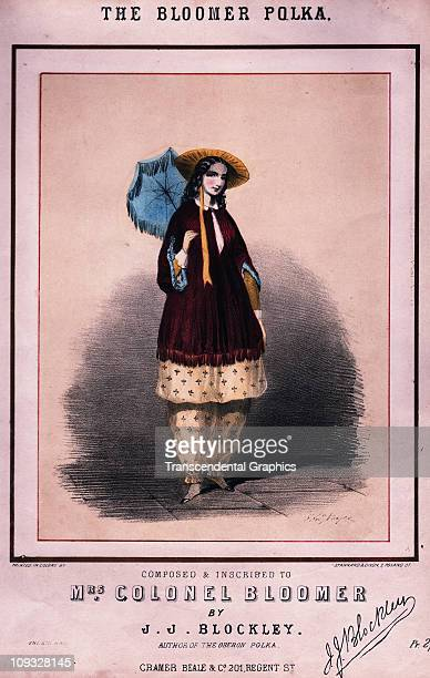 LONDON circa 1855 A lithographic sheet music cover for a song called the Bloomer Polka a tribute to Amelia Bloomer women's rights advocate from the...
