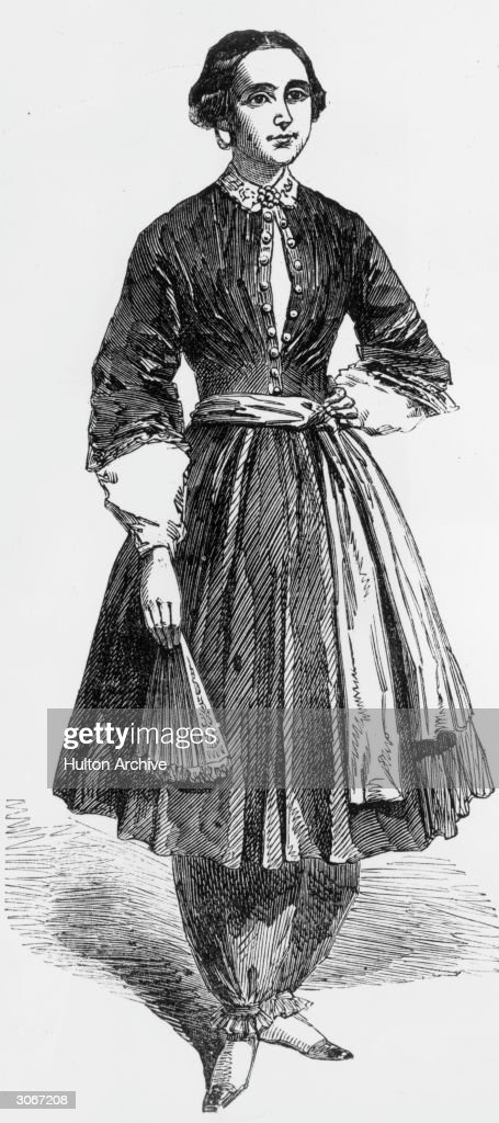 Amelia Bloomer (Amelia Jenks) (1818 - 1894), champion of women's rights and dress reform wearing the 'trousers' she designed which were called 'bloomers'.