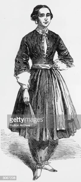 Amelia Bloomer champion of women's rights and dress reform wearing the 'trousers' she designed which were called 'bloomers'