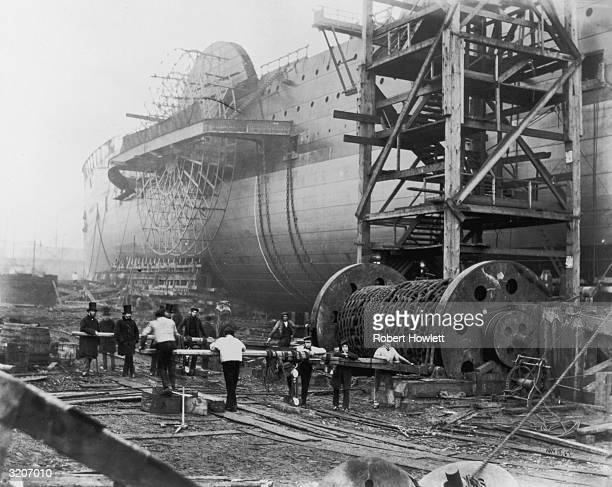 The 'Great Eastern' during its construction at Scott Russell's yard at Millwall London Initially called 'Leviathan' she served as a passenger ship on...
