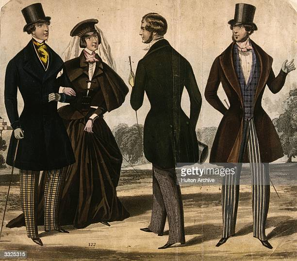 Victorian masculine dress with standing collars and bow ties