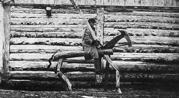 A wooden Mormon 'punishment horse' at Salt Lake City,...
