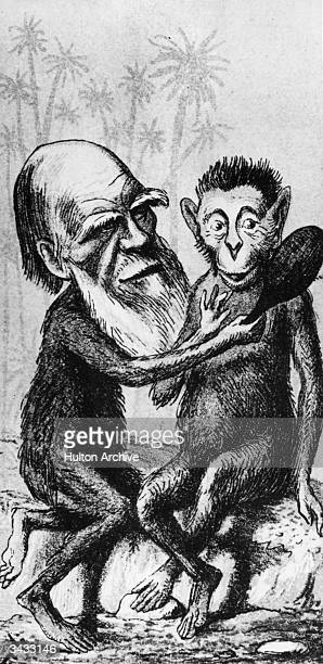 British naturalist Charles Darwin depicted with an ape's body while holding a mirror up to another ape London Sketch Book