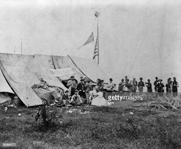 Nurses of the Michigan Soldiers' Relief Society outside a ...
