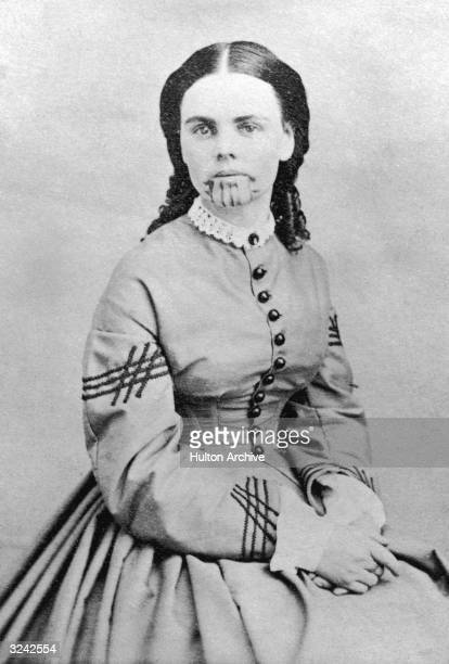 Studio portrait of Olive Oatman who was the only member of her family to survive being captured by Yavapai Indians She was sold to the Mojave tribe...