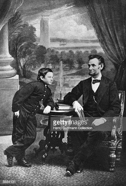 The 16th President of the United States Abraham Lincoln with his son Thomas