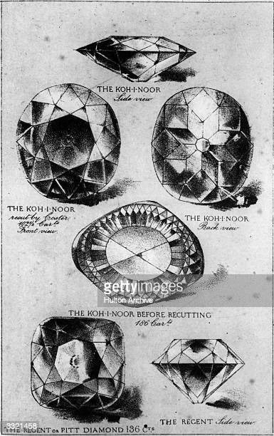 The KohiNoor and Regent or Pitt diamonds seen from different angles