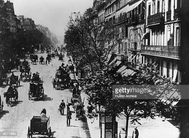 Traffic on the Boulevard des Italiens in Paris.