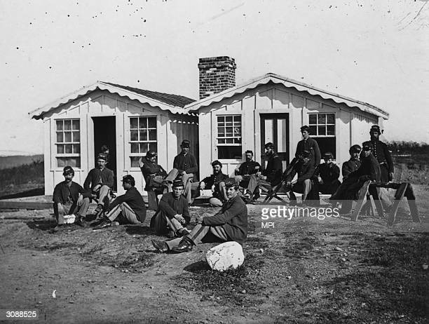 Union Officers of the 119th PA relaxing outside their quarters