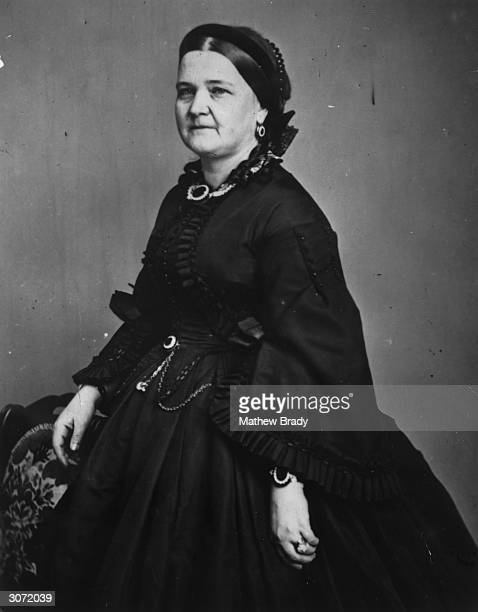 Mary Todd Lincoln wife of American president Abraham Lincoln and daughter of a Kentucky slaveholder She is wearing mourning dress probably following...