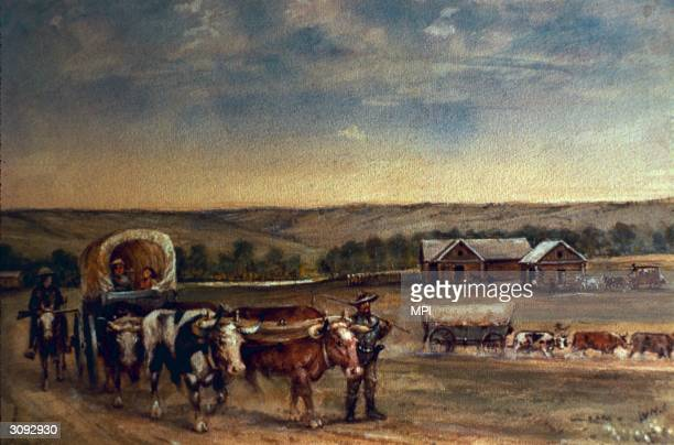 A covered wagon pulled by oxen drives is guided past a farm in the painting 'Rock Creek Station' Endicott Nebraska Original Artist By W H Jackson