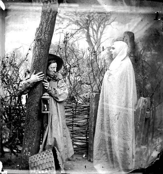 A man clinging to a tree in the face of an apparition...