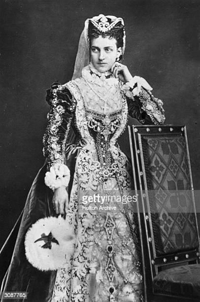 Princess Alexandra consort of the future King Edward VII wearing an Elizabethanstyle costume and headdress